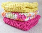 Set of 3, Cotton Washcloths, Soap Saver Bag,Cotton Wash Cloths, Yellow White Pink, Gift Set, Spa Gift Set, Pink,Yellow & White,Free-Shipping