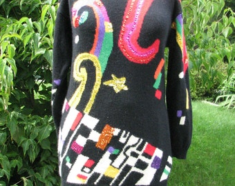 Vintage Abstract Sweater - 1980s Sweater - Disco Sweater