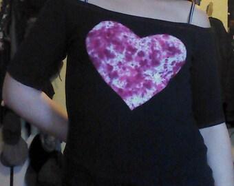 Off the Shoulder Pink Tie Dye Heart Shirt