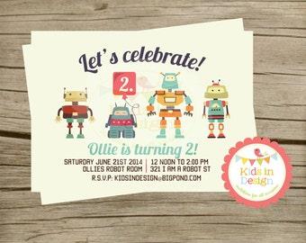Boys Birthday Invitation - Robots, first birthday, printable Digital Jpg File