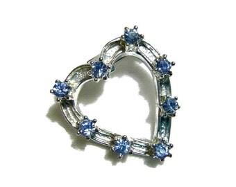 Vintage Heart Blue Rhinestone Brooch Tiny Valentine Pin, Broach Sweetheart Jewelry Sapphire September Birthday Anniversary Love Bridal Gift