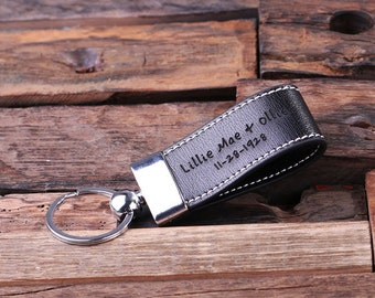Personalized Leather Engraved Key Chain Key Ring Handsome Groomsmen, Corporate or Promotional Gift