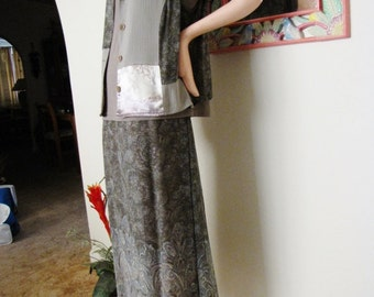 Vintage Carole Little 3 Piece Maxi Skirt Set Patchwork Vest Sage Green Dress Vintage Maxi Dress Size XL