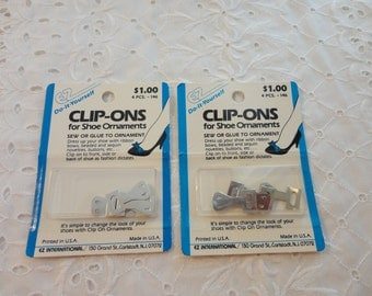Vintage Lot Of Two Unopened Packages Of Clip-Ons For Shoe Ornaments 4 Pieces Per Package