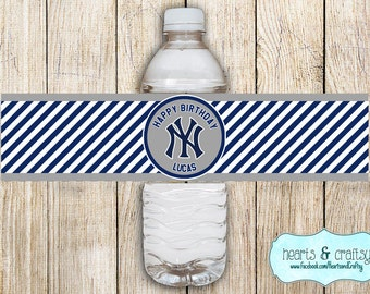 Yankees Party Drink Wrappers / Water Bottle Labels or Gatorade Bottle / Printable Waterbottle Stickers- Yankees Birthday Yankees Baby Shower