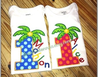 Chicka Boom Birthday Palm tree  number Applique Embroidery Custom Name