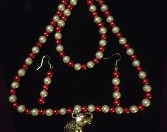Red & White necklace set, 3 piece set, necklace-earring-bracelet ,