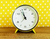 Vintage mechanical alarm clock Blessing yellow Mid. Century West Germany 60s