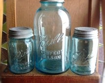 Vintage Blue Ball Canning Jars|Rustic Wedding Centerpiece|Vintage Canning Jars|Vintage Blue Canning Jars with Lids|Blue Jars|Lidded Jars