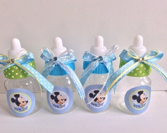 "12 small 3.5"" Baby Mickey Mouse baby shower favors - Mickey Mouse bottles- Mickey Mouse baby shower- baby shower favor"