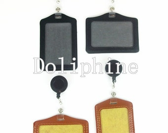 2 in 1 Business Name Tag Leather ID Badge Holder & Reel with Metal Clip