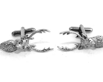 Stag's Head Cufflinks, English Pewter, Handmade, Gift Boxed (ae)