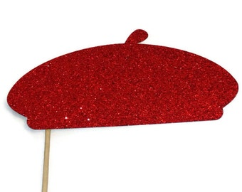 Photo Booth Props - Beret with Glitter- Pick Your Color