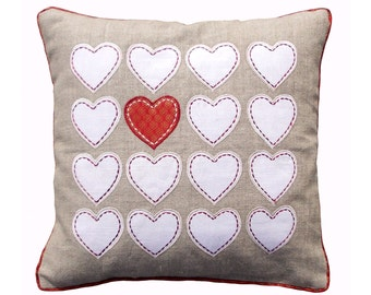 "Valentine pillow cover, heart motif, linen with brocade combination, appliqued pillow size 16""X 16"""