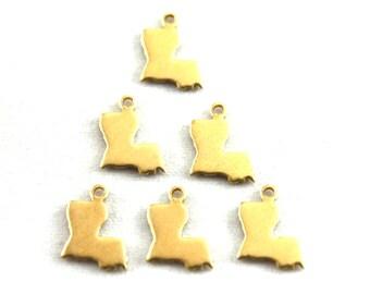 6x Blank Brass Louisiana State Charms - M073-LA