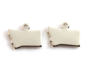 2x Silver Plated Blank Montana State Charms - M070-MT