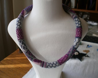 Patchwork Patterned Beaded Crochet Necklace