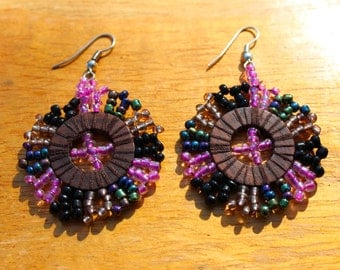 "Colorful Pink Beaded and Wood ""Sunshine"" Earrings"