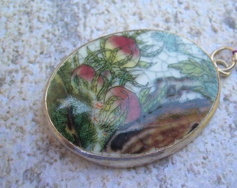 Porcelain Shard-Melon or fruit images--set in silver plated copper