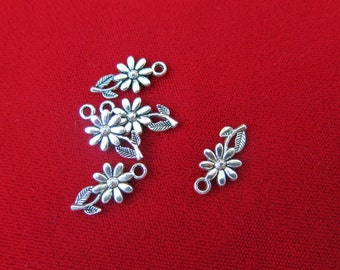 "BULK! 30pc ""Sunflower"" charms in antique silver style (BC49B)"