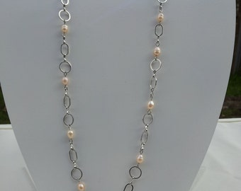 Handmade necklace with  real fresh water pearl   #00N20