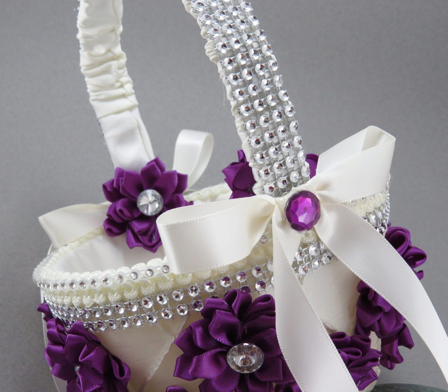 Wedding Baskets For Flower Petals : Purple flower girl basket wedding basketrhinestone