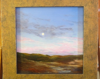Augusta Maine Summer Moon Rise Original Oil Painting Maine