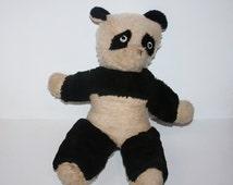 Antique Musical Hard Stuffed Plush Panda Bear / MEMsArtShop