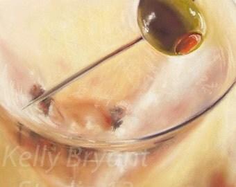 Martini, Giclee print of original pastel painting