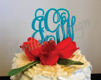 6 inch Vine connected monogram CAKE TOPPER - wedding and/or birthday