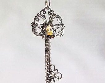 Idalis Skeleton Key Pendant Sterling Silver Citrine