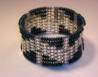 Teal-Gray Hematite Disc Bead and Silver Spacer Cuff