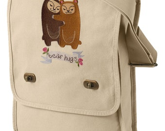 Bear Hugs Embroidered Canvas Field Bag