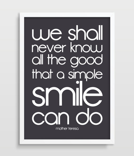 Mother Teresa Marriage Quotes: Mother Teresa Print Happiness Quote Poster Smile