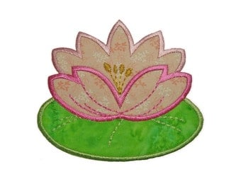 """WATERLILY Applique Machine Embroidery Design Pattern in 3 sizes 4"""", 5"""" and 6"""""""