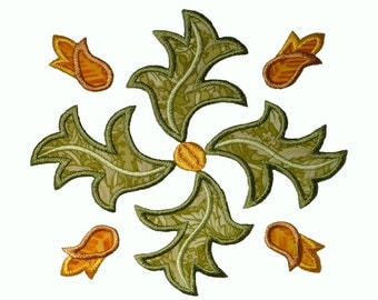 "Leafy Square Applique Machine Embroidery Design Pattern for larger hoops. 6"",7"" and 8"", not for smaller hoop sizes."