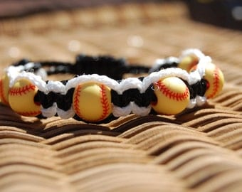Black and White Softball Bracelet  - More cord colors and sports theme options available