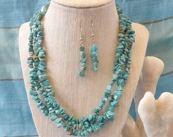 Multi Strand Turquoise Chip Necklace with Earrings