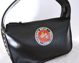National Rifle association, Black Purse ,NRA,Motorcycle bag,Studded ,Shoulder Bag