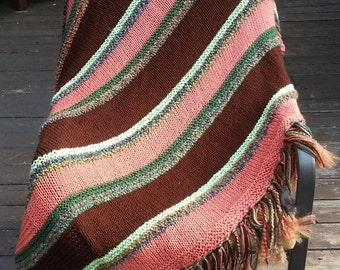 Handmade new afghan throw blanket Chocolate Brown Terra Cotta Coral Salmon Peach Garden Green Meadow soft! (0814F) great gift!