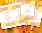 Wedding Fan Template - Chrysanthemum Tropical Sunrise Sorbet Orange Yellow Bouquet Bloom Ceremony Program - Outdoor Wedding Program Favor