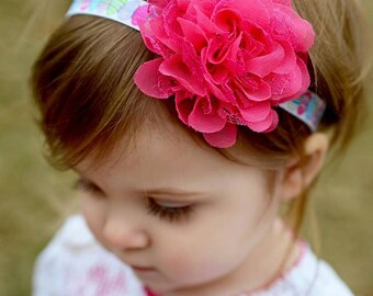 Easter Headband, Easter Egg Headband, Hot Pink Headband, Pink Headband, hot pink easter headband,flower headband, easter egg headband