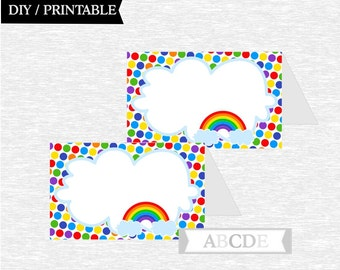 Instant Download Tented Food Labels Polka Dots Rainbow Birthday party DIY Printable (PDSSD030)