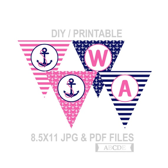Instant Download Welcome Aboard Nautical Party Banner DIY