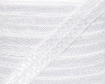 White Solid Fold Over Elastic - Elastic For Baby Headbands and Hair Ties - 5 Yards of 5/8 inch FOE