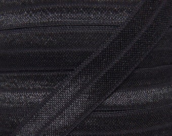 WHOLESALE Black Fold Over Elastic - Elastic For Baby Headbands and Hair Ties - 100 Yard Roll of 5/8 inch FOE