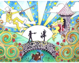 "The Nightman Cometh Watercolor - Print 11"" x 8.5"""