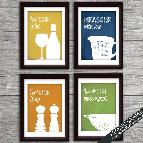 Funny kitchen art print set wine glass measuring cup spice for Funny kitchen set