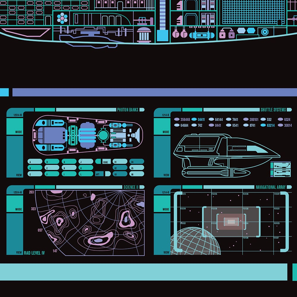 Uss Voyager Intrepid Class Starship Lcars Poster 36x11 75