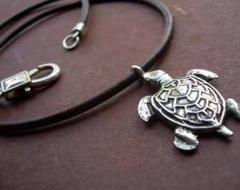 Sea Turtle Pendant on a Leather Necklace,  Mens Necklace, Womens Necklace, Sea Turtle